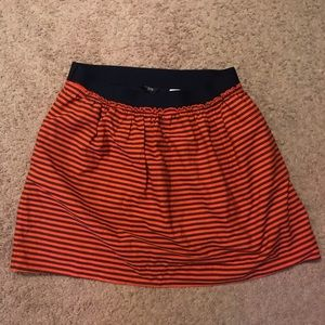 J. Crew Red and Navy Striped Elastic Skirt
